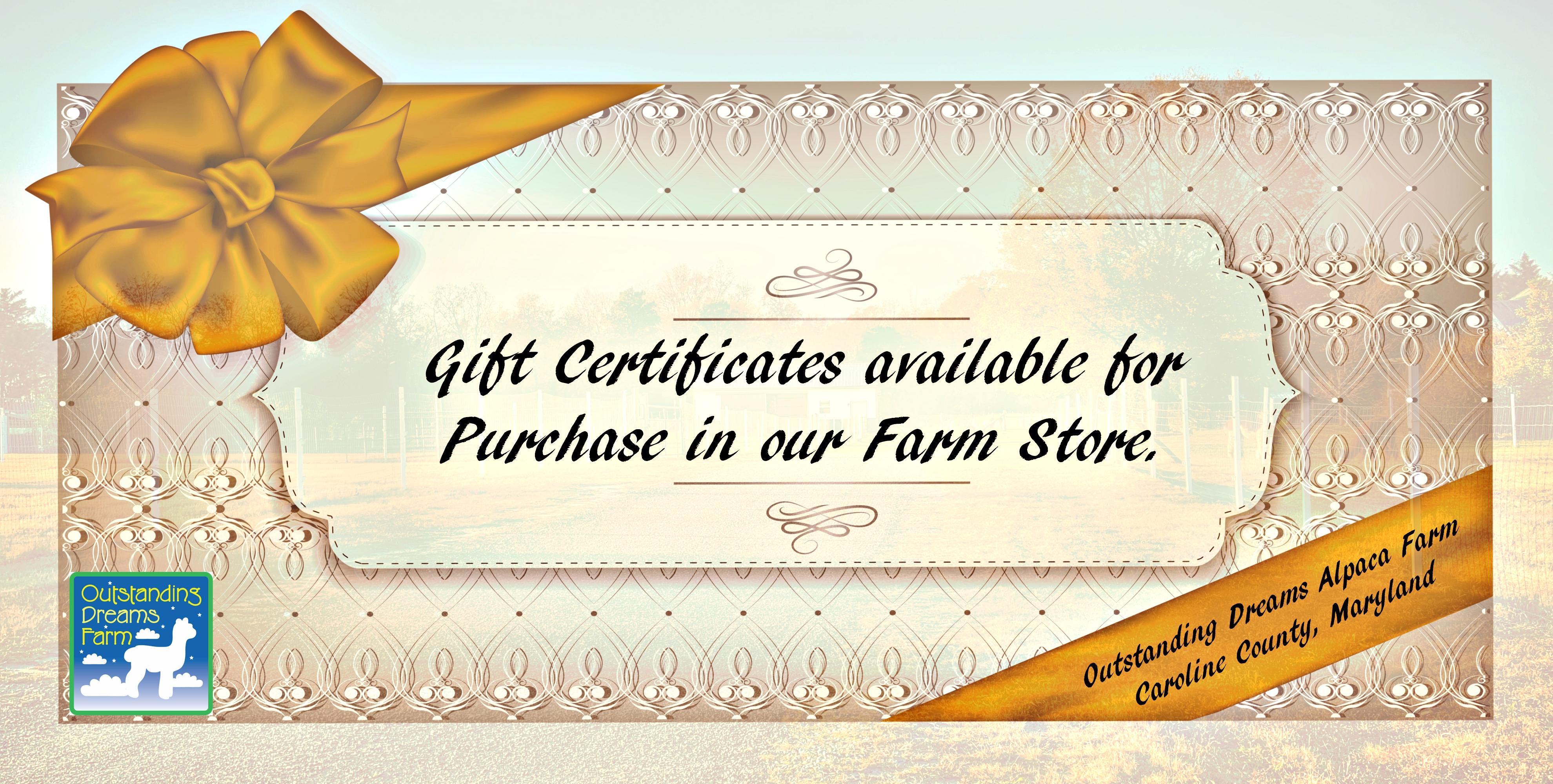 Outstanding Dreams Alpaca Farm Gift Certificates